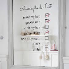 'Morning To Do List' Mirror Sticker  '