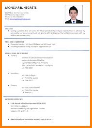 sample of formal resumes