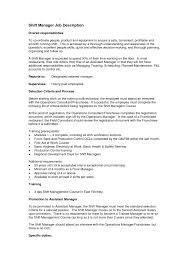 Shift Manager Job Description Resume Shift Manager Job Description Template Resume Mcdonalds Cover Letter 2