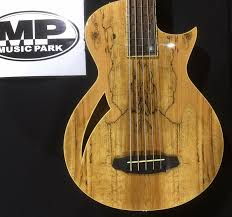 ltd by esp tl 5sm natural spalted maple 5 string thinline bass