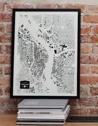 portland oregon pdx or city map print screenprint wall art for