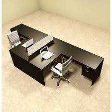 Office desk dividers Office Half Wall Two Person Shaped Divider Office Workstation Desk Set otsulfp40 Southern Office Furniture Person Desk Visual Hunt