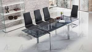 extendable smoked glass dining table ae134s