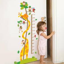 Cartoon Monkey Giraffe Height Ruler Wall Stickers Kids Room Nursery Growth Chart Wall Decals Height Measurement Wall Mural Art Stickers For Decorating