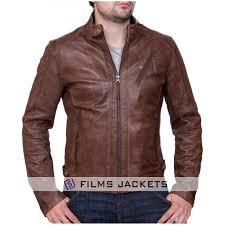 men s biker style vintage brown leather jacket
