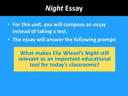 world literature friday today s activities warm up  night essay for this unit you will compose an essay instead of taking a test