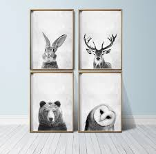 marvelous animal wall art home decoration ideas nursery decor woodland prints set animals