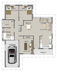 3 bed house plans single garage for