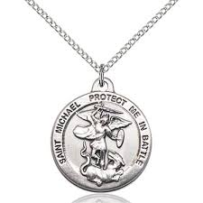 st michael protect me in battle sterling silver medals