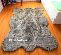 fake fur rug 5 x 7 gray thick wolf fake faux fur rugs plush by fake animal skin rugs with head