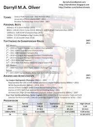 Sports Resume Resumes Sample Fieldstation Co Darryll Oliver Athletic