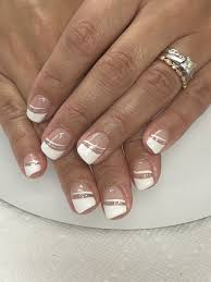 French Gel Nail Designs Angled French Bridal Glitter Gel Nails Gel Nails Gel Nail