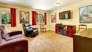 Red And Beige Living Room Tv Living Room With Art And Red Curtains And Beige Carpet With