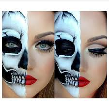 half half skull via artistry by alyssa inspo ᙡ ɲd rlаnd in 2018 makeup and skeleton makeup