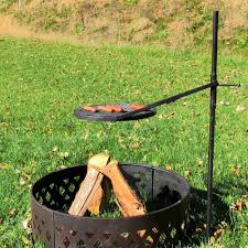 height adjule rotating outdoor campfire fire pit cooking grill grate