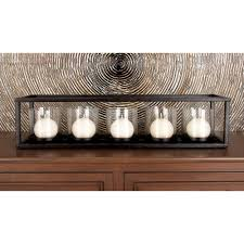 black iron and clear glass 5 pedestal rectangular candle holder 54260 the home depot