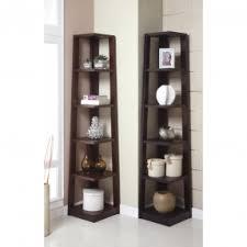 corner shelves for living room. walnut finish wood wall corner 5 tiers shelves bookshelf case for living room