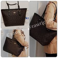 New Coach signature logo city zip tote black brown