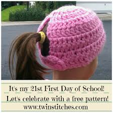 Free Crochet Hat Pattern With Ponytail Hole Beauteous TwIn Stitches I've Been Teaching For 48 Years Free Pattern