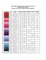 40 All Inclusive Sulky Embroidery Thread Conversion Chart