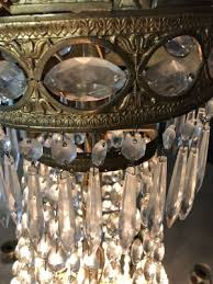 large antique belgian brass chandelier with crystal glass prisms 6