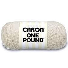 Caron One Pound Solids Yarn 4 Medium Gauge 100 Acrylic 16 Oz Offwhite For Crochet Knitting Crafting