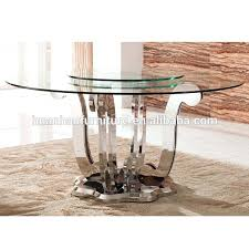 rotating dining table top fashion 6 seats stainless steel round rotating dining table and glass top rotating dining table