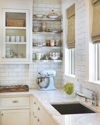Classic Kitchen With White Glass Front Kitchen Cabinets With Marble  Countertops, Subway Tiles Backsplash