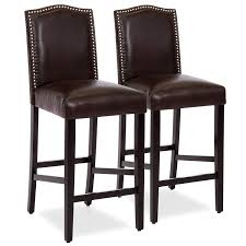 com best choice products set of 2 30in faux leather counter height armless bar stool chairs w studded trim back brown kitchen dining