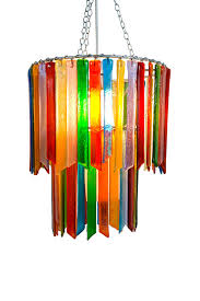 rainbow rhapsody small double handmade recycled glass chandelier