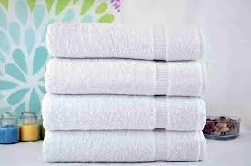 Bathroom Towel 4 Piece White Terry Bath Towel Set Luxury Hotel Spa Collection