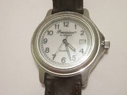 Lighted Dial Watches For Mens Precision By Gruen Silver Tone Men S Watch Leather Band Lighted Dial Date A Ne