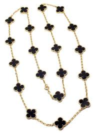 18k yellow gold alhambra twenty motif black onyx necklace by van cleef arpels