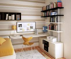 wall mounted writing desk with decorative wall bookcase for modern teenage bedroom design ideas