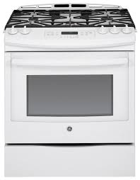 Gas Kitchen Ranges Ge 56 Cu Ft Self Cleaning Slide In Gas Convection Range White