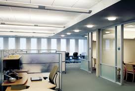 modern interior office. Modern Lighting Interior Office Design Mixed With Spakling Circle Downlight On The Ceiling And Some Transparent Glass Room Door Also A Minimalist Wooden
