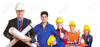 team of an architect and construction workers working together stock photo team of an architect and construction workers working together