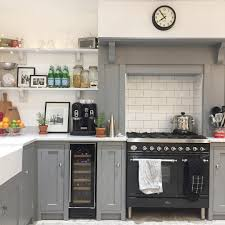 Grey White Country Kitchen Open Kitchen Shelves Cooker