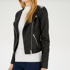 warehouse collarless faux leather biker black 4