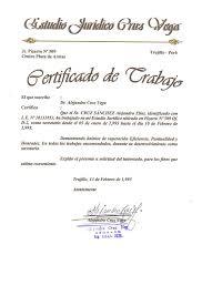 Certificado De Trabajo Estudio Juridico Cruz Vega