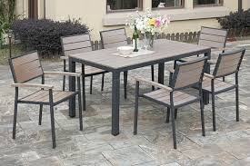 pe resin wood patio table and chair set