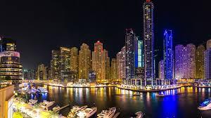 Wallpaper City Night View Dubai River Skyscrapers Lights