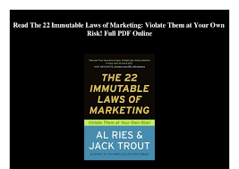 22 Immutable Laws Of Marketing The 22 Immutable Laws Of Marketing Violate Them At Your Own