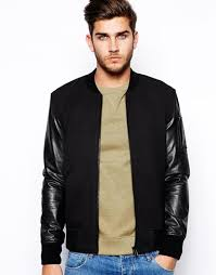 jackets blazers selected selected er jacket with leather sleeves