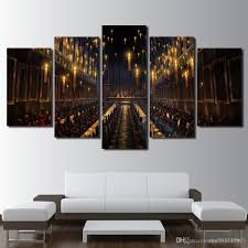 2019 modern decoration living room wall art 5 panel harry potter church candlelight picture magic canvas painting print frame from zhu793737893