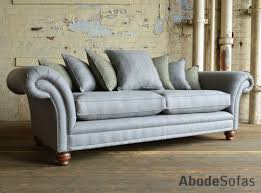 British handmade Cotswold scatter back Chesterfield Sofa, shown in grey  herringbone wool and olive tartan