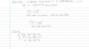 solving a linear system in three variables with no or infinite solutions problem 3