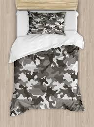 camouflage duvet cover set monochrome attire pattern camouflage inside vegetation fashion design print decorative bedding set with pillow shams