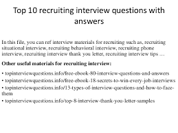 Interview Thank You Email Delectable Top 48 Recruiting Interview Questions With Answers