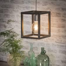 Open Hanglamp Cubicindustriële Hanglamp Cubic 1 Lichts Vierkantstaal